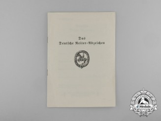 An Award Booklet for the German Equestrian Badge; Bronze Grade