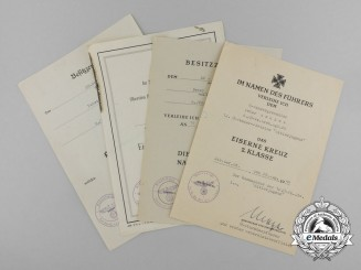A Fine Grouping of Late War Award Documents of Waffen-SS EM Peter Ascher of the Fierce 12th SS Pz. Gren. Division