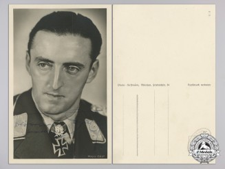 A Postcard from Diamond Winner 'Major Hermann Graf, Kommodore des Jagdgeschwader 52' With Original Signature