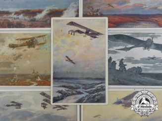 A Lot of Twelve Imperial German First War-Era Artist-Rendered Aviation Postcards