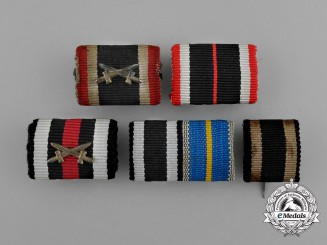 A Grouping of Five First and Second War German Ribbon Bars