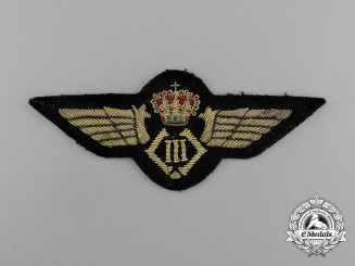 A Second War Belgian Air Force Officer Pilot's Badge