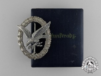 An Early Quality Cased Luftwaffe Radio Operator & Air Gunner Badge by C. E. Juncker