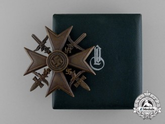 A Bronze Grade Spanish Cross with Swords by C. E. Juncker in its Original Case of Issue