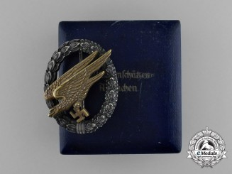 "A Cased German Paratrooper Badge by Juncker - Type ""D"""