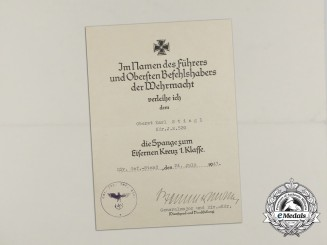 An Clasp to the Iron Cross 1st Class Award Document Signed by Wilhelm Stemmermann