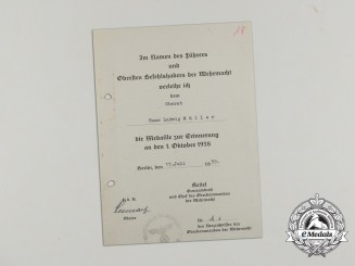 A Sudetenland Medal Award Dcoument to Colonel Hans Ludwig Müller