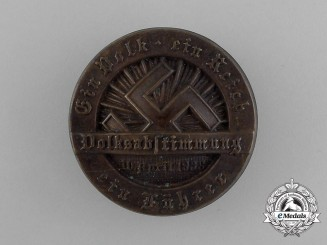 "An Austrian  1938 ""One People, One Reich, One Leader"" Plebiscite Badge"