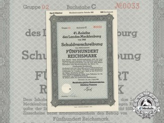 A Mint 1942 Mecklenburg State Debenture Bond in the Value of 500 Reichsmark
