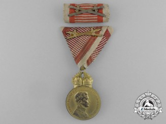 An Austrian Military Merit Medal; Bronze Grade, Karl I (1917-1918) and Silver Grade Ribbon Bar