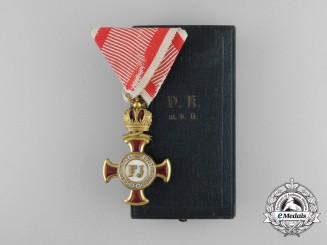 An Austrian Merit Cross 1st Class; (1914-1918) with Case by Bergmann