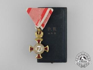 An Austrian Merit Cross 1st Class; (1914-1918) with Case by Bergmann