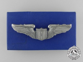 A Mint American Army Air Force Pilot Badge in Box by A.E. Co.