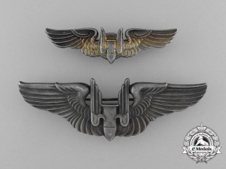 An American Army Air Force Aerial Gunner Badge; Fullsize and Reduced Size