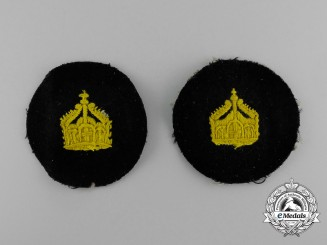 Two Imperial German Navy (Kaiserliche Marine) Officer's Crown Insignia Sleeve Patches
