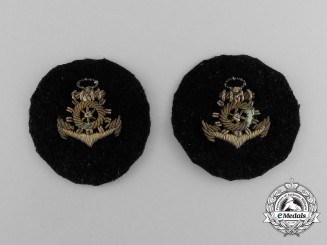 Two Imperial German Navy (Kaiserliche Marine) Engineer Officer's Sleeve Patches