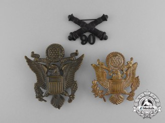Three American Army/Army Air Force Cap Badges