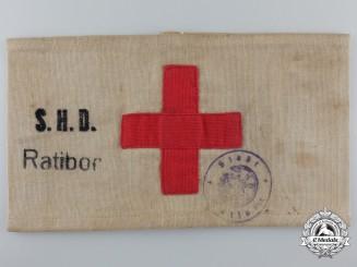 A German Red Cross Armband of the Sicherfeits und Hilfsdienste Ratibor