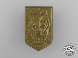 """A National Socialist People's Welfare """"Aid Mother and Child"""" Donation Badge"""