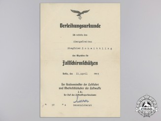 An Award Document for Luftwaffe Paratrooper's Badge