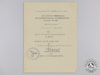 Germany, Kriegsmarine. Ann Award Document for Naval Front Clasp, 1945