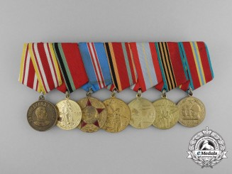 A Soviet Russian Seven Piece Medal Bar