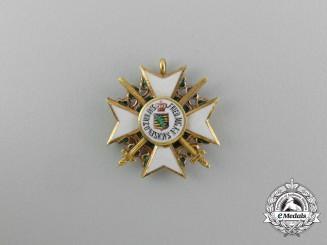 A Miniature Saxon Civil Merit Order with Swords in Gold