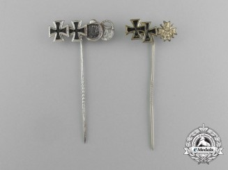 Two 1957 Version Issued Multi-Award Stickpins