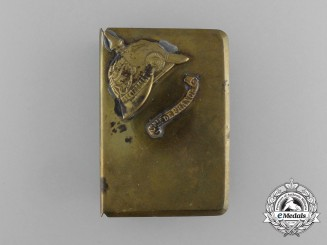 "A First War German Pickelhaube ""Souvenir of France"" Matchbox Cover"