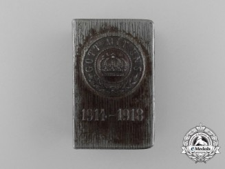 "A First War German ""Gott Mit Uns"" 1914-1918 Matchbox Cover"