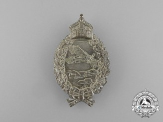 A First War Prussian Pilot's Badge; Type 1917 in Silvered Tombac