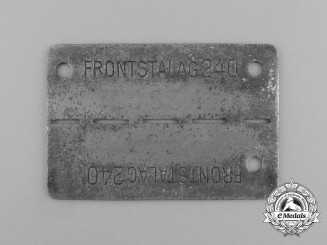A German Camp ID Tag for POW's Housed at the Frontstalag 240 in Verdun (France)