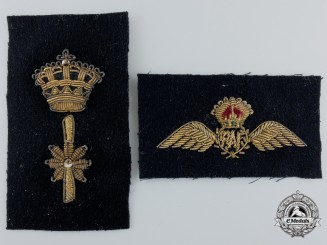 Two Second War Period Royal Air Force (RAF) Bullion Insignia