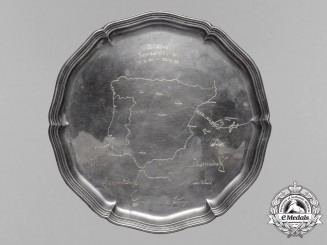 A Silver Hand Etched Commemorative Plate of the Condor Legion Sonderstab W Campaign by H.J Wilm