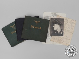 An Extremely Fine Group of Luftwaffe Flight Instructor's Flight Logbooks and Documents
