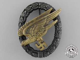 An Early Quality Luftwaffe Fallschirmjäger Badge by G.H Osang of Dresden