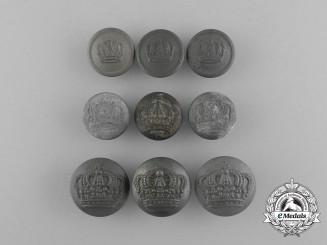Nine Bavarian Army Tunic Buttons