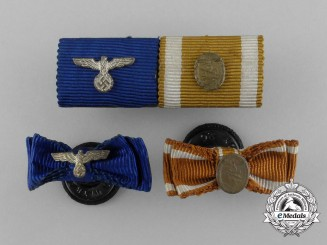 Four Wehrmacht Long Service & Westwall Medal Ribbon Bars and Boutonnieres