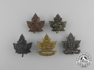 Five First War Canadian Infantry Battalion Collar Badges