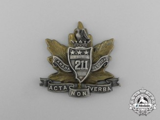 "A First War 211th Infantry Battalion ""Alberta Americans"" Officer's Cap Badge"