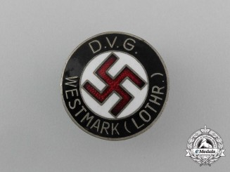 A DVG (German Volks-Comrade Union) Westmark-Lothr Membership Badge