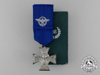 A Second War German Police Long Service Medal for 18 Years of Service in its Case of Issue