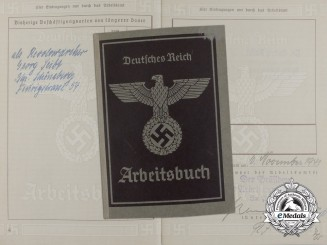 A Labour Book to Aircraft Manufacturer Employee Erich Wichmann