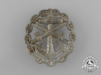 A First War German Naval Wound Badge; Silver Grade Cut-Out Version