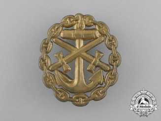 A First War German Naval Wound Badge; Gold Grade Cut-Out Version