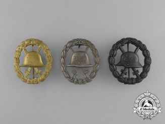 A Set of First War German Wound Badges; Cut-Out Version