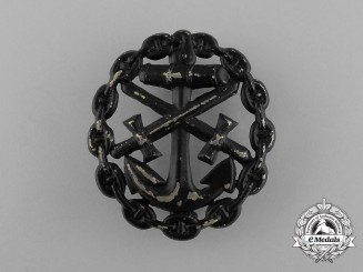 A First War German Naval Wound Badge; Black Grade Cut-Out Version