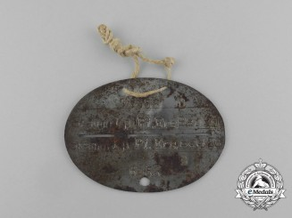 A Second War German ID Tag to the Stammkopmanie Pionier Ersatz Bataillon