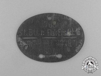 A Stamm Battery Anti-Aircraft Reserve Bataillon 16 Identification Tag
