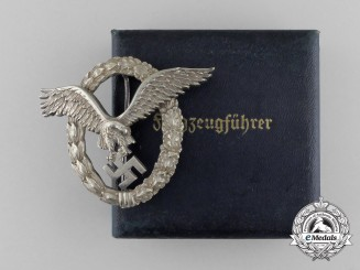 An Early Cased Luftwaffe Pilot's Badge Named to Flieger Speck